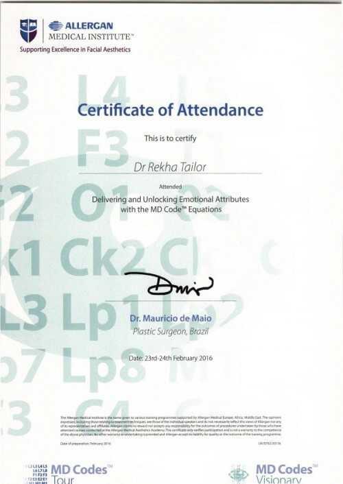 MD Codes Visionary Certificate 1 Dr Rekha Tailor at health + aesthetics, Farnham, Surrey