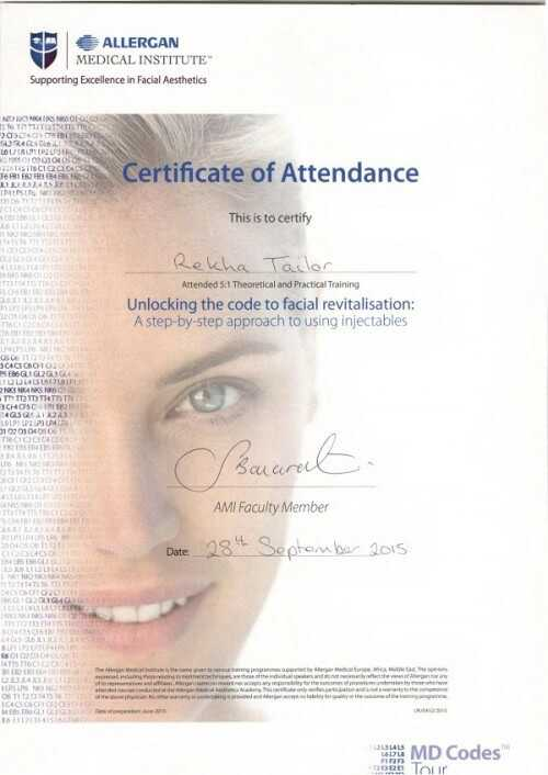 MD Codes Certificate Dr Rekha Tailor at health + aesthetics, Farnham, Surrey